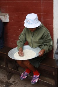 From Wednesday 1/22 at Hope School--preparing the rice for the school lunch (in other words, picking out the stones)